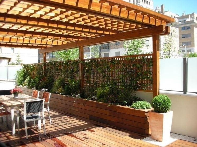 Pareti in legno per terrazzi